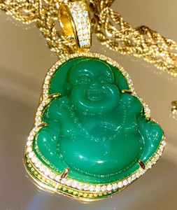 Diamantes de ouro 18K Concluir Green Jade Lab simulados Laughing Buddha Iced Out Colar Pingente CZ Jewelry