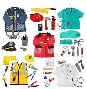 Cosplay Job Worker Costume Set Child Occupational Engineering Role Fireman Doctor Nurse Vet Police Dress up Cosplay Props Toys Ages 3-7 Year