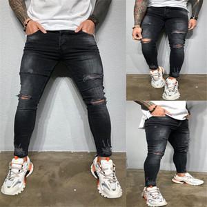 Agujeros de rodilla para hombre del diseñador de moda Negro Jeans Denim Hiphop Calle lápiz de los pantalones casuales para hombre Fit Jeans