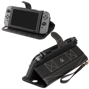 Carrying Case PU Leather Protect Flip Travel Cover for Nintendo Switch Case, with 10 Card Holeders & Stand Function