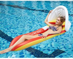Новый надувной пляжный лежак Спинка Водные виды спорта Гамак Single Air Матрасы Recliner Плавающий Спящий кровать Кресло Подушка с зонтом