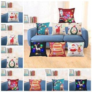 LED 라이트 쿠션 커버 XMAS 산타 클로스 순록 베개 케이스는 발광 베개 크리스마스 집 소파 장식 (7 개) 스타일을 커버 커버 LXL596-1