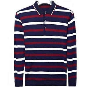 2019 manches longues hommes de polo shirt rayé coton streetwear chemises hommes robe polo tee-shirt vêtements poloshirt de camisa pol 2267