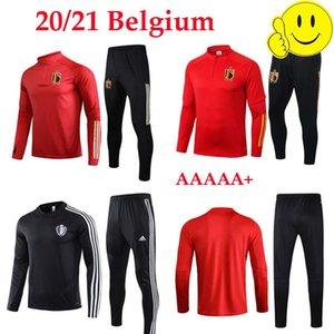 Calidad superior 2021 21 chándal Bélgica Footba jerseys Lukaku FELLAINI E.HAZARD De Bruyne belga del kit del fútbol chaqueta de traje de entrenamiento