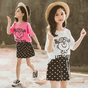 Children Baby Girl Clothes Set Summer Short Sleeve Cute T-Shirt and Polka Dot Mini Skirt Two Piece Set of Clothes for Teens Kids