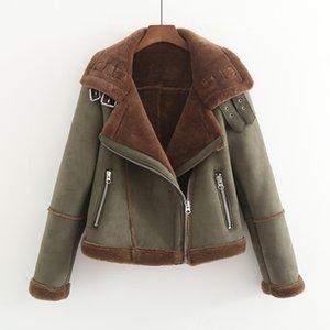 MUMUZI Sahte Kürk kalın Parkas Kış sıcak moda Kabanlar Kadınlar 2019 Streetwear sahte süet Coats kadın ordusu Yeşil Ceket T191209
