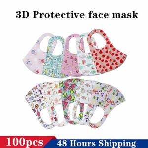 Fast Shipping Kawaii Kids Designer Mask Dustproof Cartoon Printed Pattern Face Mask For Children 3D Breathing Reusable Washable Facial Mask