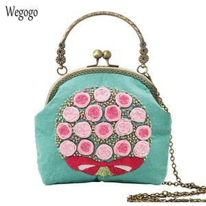 Chinese Fácil bordado DIY flor bolsa da carteira Cross Stitch Define Kit Agulhas de costura artesanal Bolsa criativa do presente