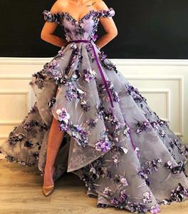 Abendkleider 2020 Lila Flora Spitze hohe niedrige Abschlussball-Kleider Appliques ziemlich lange Abschlussball-Kleider weg von der Schulter-formale Kleider