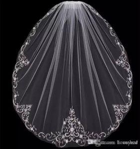 Nouvelle Arrivée Une Couche Bout Du Doigt De Mariage Voiles Appliques Paillettes Perles Bord Pas Cher Tulle Voile De Mariée Pour La Mariée Avec Peigne