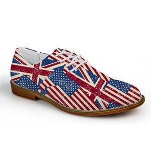 Customized Männer Oxford-Ebene-Schuhe, USA Vereinigtes Königreich Flaggen Puzzle British Style Schuhe der Männer der Qualitäts-beiläufige Ebene Große Größe 41-45