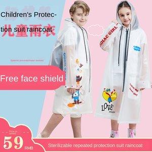 Y7cyC de escolar del poncho de todo el cuerpo de dibujos animados impermeable de los niños Niños del jardín de la ropa de protección ropa de protección impermeable lectura
