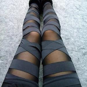 Bandage Leggings Charme Leggins Slim donne Legins Lady Punk 2020 pantaloni sexy di giunzione elasticizzato nero Pantaloni Patchwork