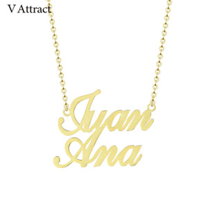 V Attract Custom Two Names Necklace Personalized Jewelry Stainless Steel Choker Friendship Gift Fashion Double Name Couple Kolye MX190730