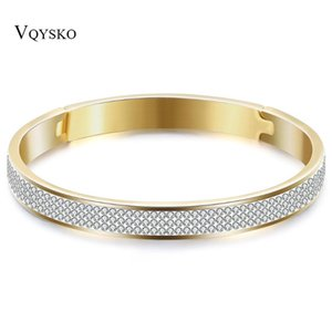 Gold Color Stainless Steel Crystal Bangles for Lovers Women
