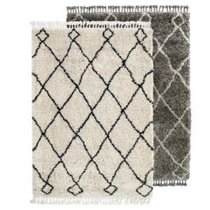 Teppich Beni Ourain im marokkanischen Stil, Beigeweißer handgearbeiteter marokkanischer Bergteppich mit Quaste Vintage-Deko-Teppich Berber