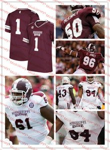 Mississippi State Bulldogs Fútbol Jersey Denico Autry Bernardrick Mckinney Chris Jones Gabe Jackson DARÍO SLAY Jersey del estado de Mississippi