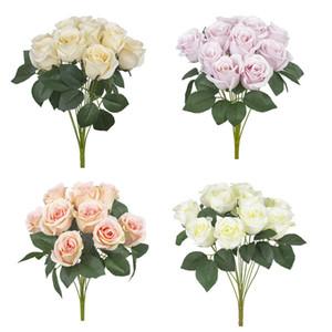 Искусственный Carter розы 12 голов 1 букет розы цветок украшения дома помпон поделки Шелковый букет свадьба ваза Flores artificiales Florals Deco