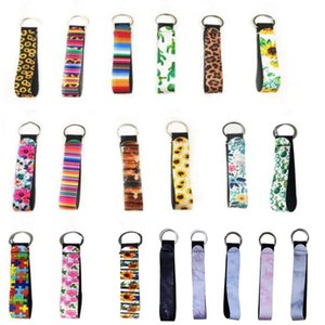 Neoprene Wristlet Keychains Lanyard Serape Prints Strap Band Split Ring Key Chain Holder Key Hand Wrist Lanyard Keychain For Girls Women