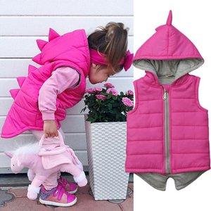 Enfants mignons bébé fille Vêtements solide Dinosaure manches coton rembourré Veste Manteau Gilet Hauts Outwear Automne Hiver