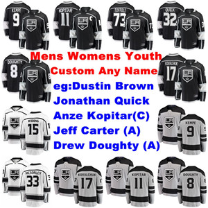 Mens Personalizza Los Angeles Kings maglie Anze Kopitar Jersey Jonathan Quick Dustin Brown Jeff Carter Drew Doughty pullover del hokey ha cucito