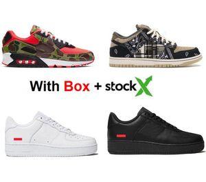 2020 Com Caixa Sup Baixo Branco Preto 90 reverso Duck Camo Running Shoes Homens Mulheres Só Sports Sneakers frete grátis