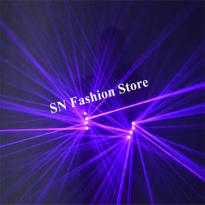 SJ78 Viola blu laser guanti partito club robot uomo indossa proiettore laser dj 4 pz teste laser led costumi danza guanti puntelli illuminati discoteca