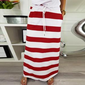 Stripe Moda Womens Hight cintura Maxi saia longa Verão Hight cintura Maxi saia longa Casual jupe Meninas femme @ 12