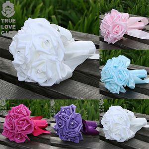 Bouquet da sposa damigella d'onore Aartificial Rose Flower Ribbon Pearl Foam Bouquet Holder floreale bella decorazione floreale