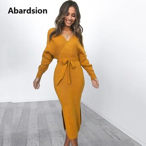 Vestido de tejido de punto Abardsion mujeres abrigo con cinturón de la túnica Midi Vestidos de manga larga doble cuello en V Dividir casual Vestidos de otoño 2019
