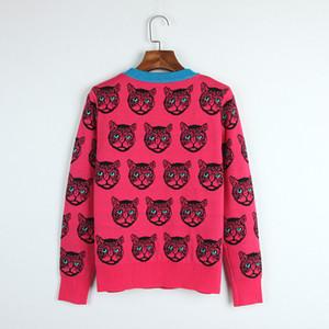 nova Outono / Inverno Pullover regular manga comprida gola animal Imprimir painéis Cats Marca frete grátis Estilo Sweater Same