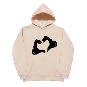 Male Teenager Hoodies Harajuku Style Hands LOVE Casual Sports Sweatshirts Autumn Winter Fleece