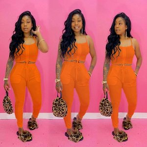 Womens Clothing Clothes Summer 2 Two Vest Outfits Sets Drawstring Size Crop Streetwear Fashion Suits Top Pants Tracksuits Plus Piece Po Nxor