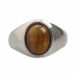 Piedra del Tigre Rojo oval natural de ojos Verdes / anillos de acero anillo de la venda gruesa inoxidable de los hombres simple Breve hombres del diseño de la joyería caja de regalo libre