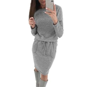 Autumn Winter Knitted Dress Women With Sashes Sexy Long Sleeve Knee Length Warm Dress High Waist Sweater Dresses fz3766