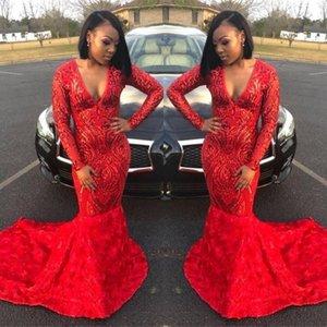 2020 negras de cetim 3D Flores Evening Dresses Africano mangas compridas Trem da varredura Prom Vestidos Masquerade BC3423