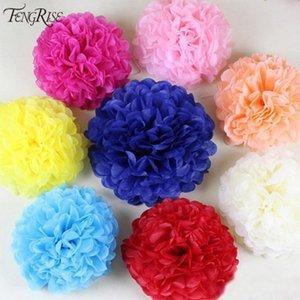 Wholesale- FENGRISE künstliche Blumen 5pcs 15cm Dekorative Günstige China Pom Poms Garland Gefälschte Kranz Hochzeit Auto Seidenpapier Ball Crafts