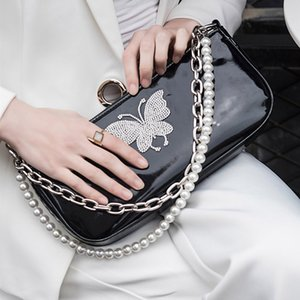Fashion Women Handbags Baguette Female Patent Leather Messenger Shoulder Bags New Chain Butterfly Zipper Female Pearl Cute Bags