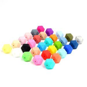 100 stücke 14mm Hexagon Silikon Perlen Kinderkrankheiten Baby Beißring Baby DIY Spielzeug Baby shower Geschenk Halskette Schnullerkette