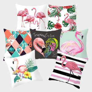 Flamingo Pink Dekorative Kissenbezug Tropical Pflanze Grün Kissen Kissenbezüge Polyester für Sofa Home Decoration Pillowcase