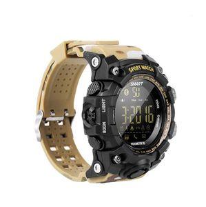 EX16S Smart Watch Bluetooth Wasserdichtes IP67 Smartwatch Relogios Pedometer Stoppuhr Armbanduhr FSTN Display-Armband für iPhone und Android-Uhr