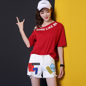 Letter print denim hotpants summer shorts women new oversized loose streetwear patchwork booty shorts femme pocket ladies