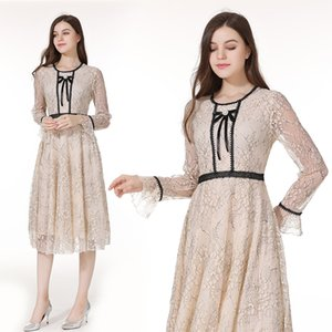 New Elegant Cotton Caftan Dresss Women Long Muslim Dresses For Dubai Girls Lace Girl Dress