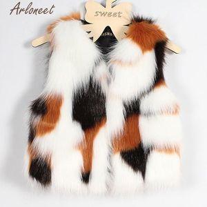 Arloneet infante ragazze Gilet Autumn Winter Girl Faux Fur Gilet spessore cappotto caldo Outwear i vestiti
