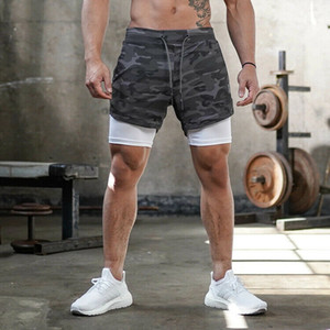 Hommes Natation Respirant Fitness Shorts Jogging Cachée-Pocket Athletic Training Pocket Gym Sport Double exercice Layer