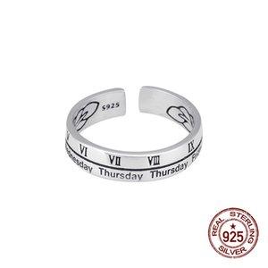 100٪ S925 الفضة الاسترليني مفتوحة حلقة شخصية الاسلوب المناسب الأرقام الرومانية النسخة الكورية بسيط طالب جديد من جوهرة واحدة