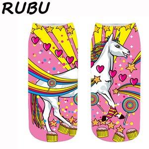Rubu Harajuku 3D Impressão do unicórnio Socks Mulheres meias engraçado Cotton Femme kawaii Meias Mulheres curto Meias 7VB172