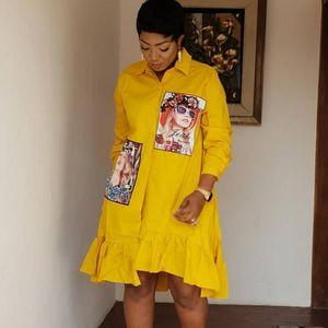 Frühlings-Herbst-Mode gelber Druck Plissee-Kleid-beiläufige nette Frauen mit Perlen verziert Blusenkleider Langarm Plus Size Vestidos