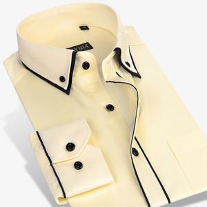 Doppelte Kragen Design Feste Langarm-Kleid Shirts Slim Fit Button-down Weiß Büro Smart Casual Male Arbeit Hemden