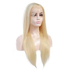 613 금발 레이스 프런트가 인간의 머리 가발 8-20inch 브라질 스트레이트 헤어 가발 처리되지 않은 스위스 레이스 정면 가발